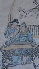 """ANTIQUE CHINESE WATERCOLOR ON PAPER PAINTING"""" MAN&WOMAN IN GARDEN PLAYING MUSIC"""""""