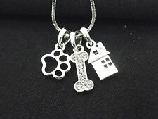 Dog House Puppy Paw Bone  Women Austrian Crystal Necklace Silver Plated