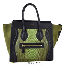 Authentic CELINE Luggage Hand Bag Suede Python Leather Khaki Black Italy 605W855
