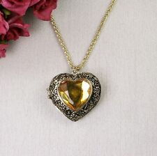 N5 Antique Gold Style Heart Locket Long Sweater Necklace