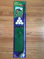 Junior Kids Right Hand Golf Driver Drive Set with Driving Mat & 6 Plastic Balls