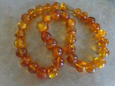"Vintage Antique Natural Honey Amber Beaded Necklace 88 grams 22.5""Long"