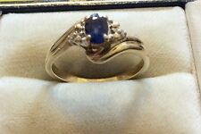 Beautiful Ladies Hallmarked Solid 9ct Gold Fancy Sapphire & Diamond Ring - N 1/2