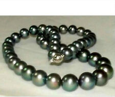 stunning 10-11mm perfect round tahitian black pearl necklace 18 inch
