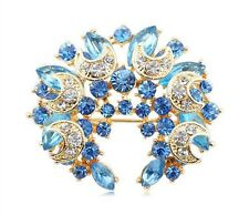 Pale Light Blue Moons Rhinestones Crystal Wreath Circle Brooch Pin BR113