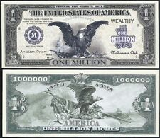 Eagle American Dream Million Dollar Bill Collectable Fun Money Novelty Note