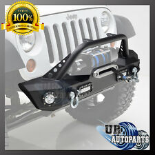Front Bumper With LED Lights&D-rings&Winch Plate for 07-17 Jeep Wrangler JK