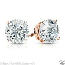 1.50 Ct Round Earrings Studs Solid 14K Rose Pink Gold Brilliant Basket Screwback