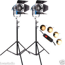 2 × 1000W FRESNEL tungsteno Riflettore dimmer costruito in video + LAMPADINA + Barndoor 4 PELLICOLE