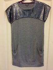 MISS GRANT Girl's Gray Sequins Top Holiday Dress Size 14 EEUC Worn Once
