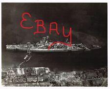 WWII RARE UNP PHOTOGRAPH 8X10 AERIAL OVER SUNKEN JAPANESE ISE CLASS BATTLESHIP