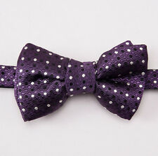 New $250 TOM FORD Purple-Black-White Dot Pattern Silk Bow Tie Bowtie Medium Size