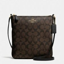 New Coach F35940 North South Crossbody In Signature Brown Black NWT