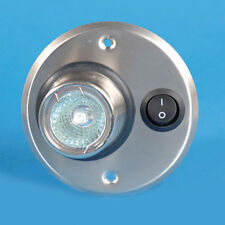 SWITCHED HALOGEN ROUND INTERIOR LIGHT - STEEL 12V 10W CARAVAN MOTOR HOME