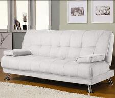 Divano letto sofa 187x88 bianco ecopelle braccioli antiribaltamento soggiorno|JO