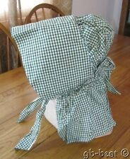 Antique c 1890s GREEN Check Prairie Hat Bonnet Primitive PA Farm House