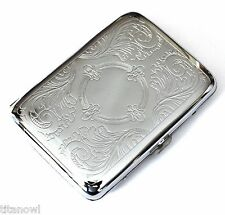 Classic Metallic Silver Color Double Sided King Cigarette Case Etched design