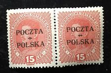 Poland 1919, Kraków issue, paire of Fischer 35, MLH, signed