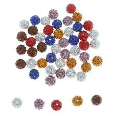 50pcs Clay Pave Disco Rhinestone Crystal Shamballa Beads Mixed Color 10mm