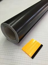 "84"" X 60"" CARBON FIBER VINYL WRAP 4D GLOSS BLACK HIGH GRADE WITH AIR RELEASE"