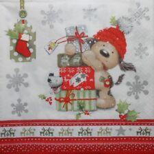 4 X Solo Papel Servilletas-Navidad, presente Ciervo-Decoupage Y Craft - 88