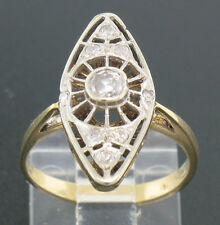 Vintage 14k Solid Two Tone Gold Art Deco Diamond Marquise Shaped Ring