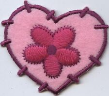 Iron On Applique Embroidered Patch Pink Patchwork Felt Heart with Daisy Flower