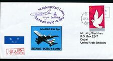 59454) EMIRATES A380 FF Beijing China - Dubai 1.8.2010, large cover, bird Taube
