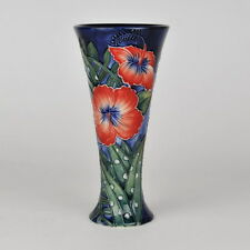 "Old Tupton Ware ""HIBISCUS"" Hand Painted Tube Lined VASE (8"") TW1584"