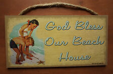 GOD BLESS OUR BEACH HOUSE Nautical Starfish Seaside Home Decor Wood Sign NEW