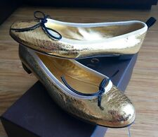 BN Gucci Gold Metallic Cracked-Leather Ballet Flats! Size 39! SUPER RARE! GORG!