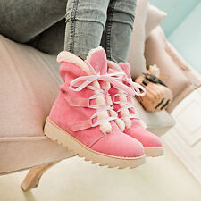 Womens Lace Up Flats Faux Suede Fur Lined Girls Snow Shoes Winter Ankle Boots SZ