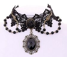 26L Gift Boxed Victorian Romance Crystal Drop Black Lace Choker Necklace