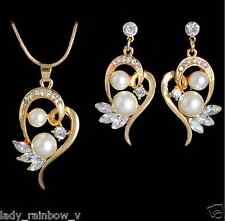 Romantic Heart Design Pendant Necklace Earrings Set Pretty White Pearl Luxury