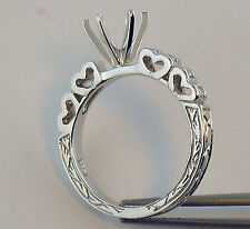 Heart Shape Engrave Style Semi Mount Diamond Ring 14K Solid White Gold