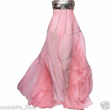 NEW VERSACE METAL EMBELLISHED PINK SILK GOWN DRESS 38
