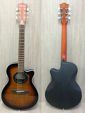 "Caraya C-836TBS 38"" Round-back Acoustic Guitar Tiger-burst +Free gig bag,D-Tuner"