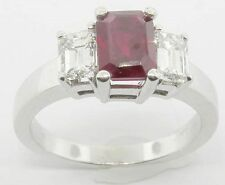 LADIES 14K WHITE GOLD EMERALD CUT RUBY DIAMOND RING SIZE 6 1/4 NEW