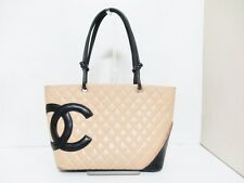 Authentic CHANEL Beige Black Cambon Line Lambskin Tote Bag 9110582