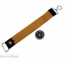 HARYALI REAL BROWN LEATHER STROP WITH BALM/PASTE 10 ML TUBE FOR SHARPENING
