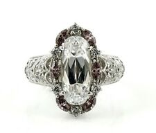 TACORI IV WHITE AMETHYST OVAL & PINK MARQUISE GEMSTONE CZ STERLING FILIGREE RING