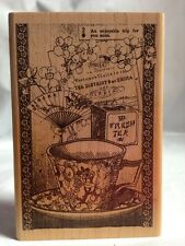 Inkadinkado 94111X Tin Can Mail Chinese Tea Fan Cup Fortune Flower Rubber Stamp