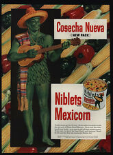 1950 JOLLY GREEN GIANT in Sombraro & Plays Guitar - NIBLETS MEXICORN VINTAGE AD