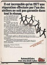 Publicité Citroen Relations Clientèle  photo vintage ad  1977 - 8h