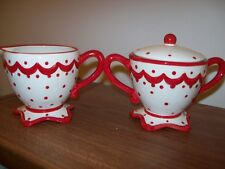 MAGENTA~PRE OWN WHITE AND RED POKE A DOT CREAMER AND SUGAR BOWL & LID