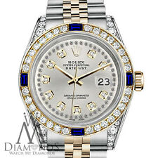 Rolex 36mm Datejust Silver String Dial with Sapphire & Diamond Watch