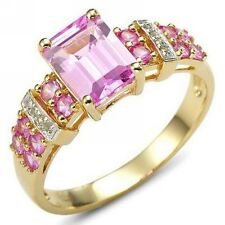 Woman's Size 8 Princess Cut Pink Sapphire 10KT Gold Filled AAA Rings For Wedding