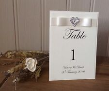 PERSONALISED SILVER HEART WEDDING TABLE NUMBERS (OTHER RIBBON COLOURS AVAILABLE)