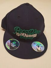 ROCAWEAR Fitted CAP 7 3/8 Blue Hat Green Stitch Jay-Z Approved Flat Bill NWT