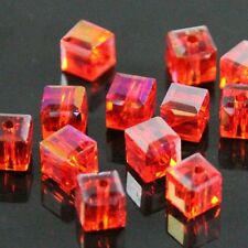 30 Pieces 4mm Swarovski  cube crystal beads D red AB